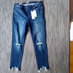 NWT Vigoss Ace Distressed Knee High Rise Jean